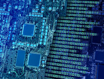 Number breaking cpu circuits. Computer circuit board with multiple processors making fast binary data output stock photo