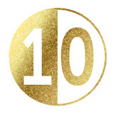 Number 10. In bright gold Stock Photos