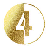 Number 4. In bright gold Royalty Free Stock Photo