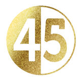 Number 45. In bright gold Stock Image