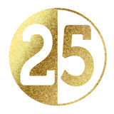 Number 25. In bright gold Stock Images