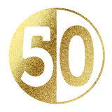 Number 50. In bright gold Stock Photography