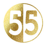 Number 55. Number 50 in bright gold stock illustration