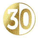 Number 30. In bright gold Stock Images