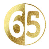 Number 65. In bright gold Stock Images