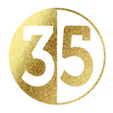 Number 35. In bright gold Royalty Free Stock Image