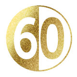 Number 60. In bright gold Vector Illustration