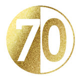 Number 70. In bright gold Stock Photos