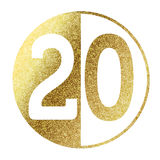 Number 20. In bright gold Royalty Free Stock Photo