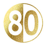 Number 80. In bright gold Stock Photos