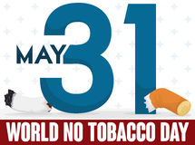 Number 31 and Broken Cigarette Commemorating World No Tobacco Day, Vector Illustration. Poster with number 31 slicing a cigarette to commemorate World No Tobacco Royalty Free Stock Photography