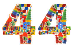 Number4 built from wooden toys. On white background Royalty Free Stock Photography