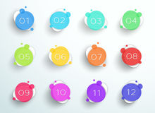 Number Bullet Point Abstract Colorful Circles 1 To 12 Vector Stock Image