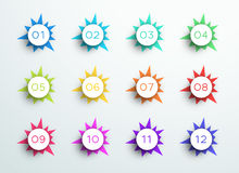 Number Bullet Point Abstract Spiky Shapes 1 to 12. 3d, colorful number bullet point steps 1 to 12 infographic with spikey shapes and editable transparent drop royalty free illustration