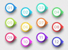 Number Bullet Point Colorful 3d Markers 1 to 12 Vector. 3d colorful number bullet point markers 1 to 12 infographic with editable transparent drop shadows on a Royalty Free Stock Photography