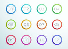 Number Bullet Point Cut Out Rings 1 to 12 Vector. 3d colorful number bullet point rings 1 to 12 infographic with editable transparent drop shadows on a subtle vector illustration