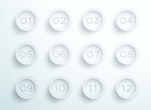 Number Bullet Point White 3d Rings 1 to 12 Vector Royalty Free Stock Image
