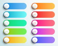 Number Bullet Points 1 to 10 With Text Boxes. 10 vector text boxes made of colourful gradients with 3d, white bullet point numbers and editable, transparent drop Royalty Free Stock Image