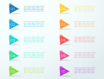 Number Bullet Points 1 to 10 Transparent Flag. 3d colorful number bullet point transparent triangles 1 to 10 infographic with space for text and editable Stock Photo