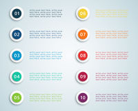 Number Bullet Points Vector 2. 3d Number Steps Infographic 1 to 10 bullet points, colourful with space for text and editable transparent shadows vector made in Royalty Free Stock Photography