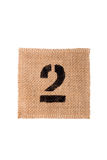Number burlap sack isolated on a white background with empty space Stock Images