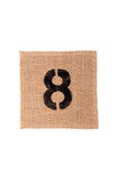 Number burlap sack isolated on a white background with empty space Stock Photography