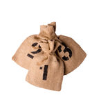 Number burlap sack isolated on a white background with empty space Royalty Free Stock Photo
