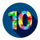 Number 10 button with colorful polygon pattern. Number 10 with a colorful polygon pattern on a round dark blue web button.  Vector Royalty Free Stock Images