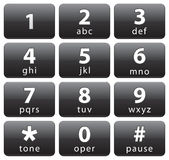 Number buttons. Black rectangular number buttons from 1 to 0 and star and number icons Royalty Free Stock Photography