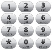 Number buttons. White oval number buttons from 1 to 0 and star and number icons Royalty Free Stock Images