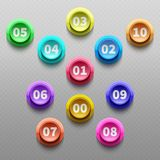 Number buttons, 3d pointing bullets vector set. 3d point button with number illustration stock illustration