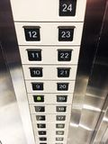 Number buttons of elevator. Number buttons of elevator at hotel Stock Photo