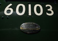 Flying Scotsman. Number on Cab of Flying Scotsman when on West Somerset Railway royalty free stock photography