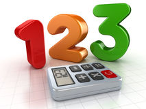 123 number and calculator. This is a computer generated and 3d rendered picture Stock Image