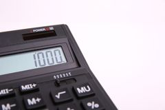 Number 1000 on the calculator screen stock image
