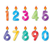 Number candle. Set of colorful happy birthday number candles Stock Images