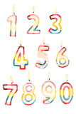 Number candles 0 to 9 Royalty Free Stock Photo