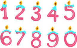Number candles. Illustration of number candles on white Stock Photo
