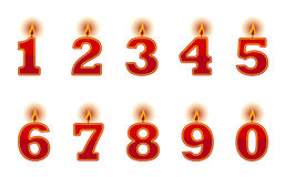 Number candles. On white background Stock Photo