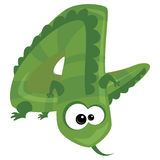 Number 4 cartoon funny lizard. Number 4 cartoon funny green lizard vector illustration