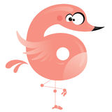 Number 6 cartoon funny pink flamingo Stock Photos
