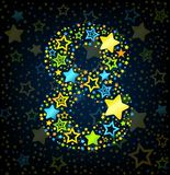 Number 8 cartoon star colored Stock Image