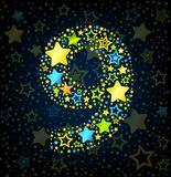 Number 9 cartoon star colored Stock Images