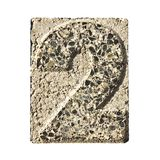 Number 2 carved in a concrete block Stock Photo