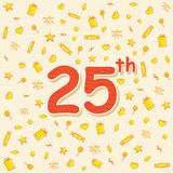 25 number celebration birthday card design. Creative 25 birthday or anniversary celebration greeting design Royalty Free Stock Images
