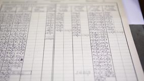 A number chart with different values used in manufacturing, selective focus