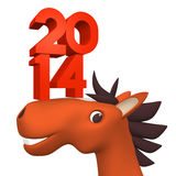 2014 Number On Cheerful Horse's Face. For Year Of Horse 2014 Royalty Free Stock Images