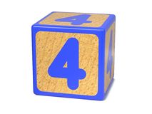 Number 4 - Childrens Alphabet Block. Stock Photos