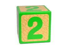 Number 2 - Childrens Alphabet Block. Stock Photography