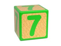 Number 7 - Childrens Alphabet Block. Royalty Free Stock Photos